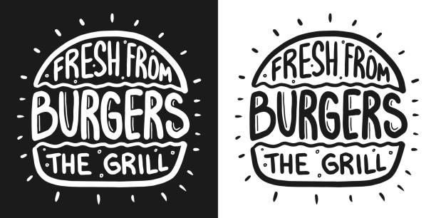 illustrazioni stock, clip art, cartoni animati e icone di tendenza di best burger lettering with rays and engraving bun. white vector vintage illustration on dark chalkboard. for poster and menu. - hamburger