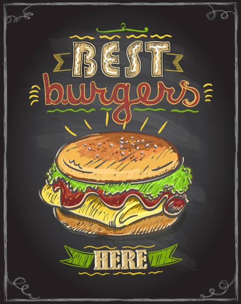 best burgers here chalkboard menu design - food delivery stock illustrations