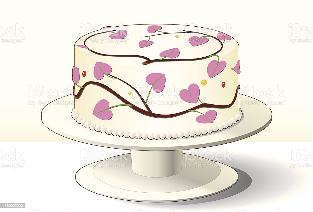 Best cake with pink heart decoration for Valentine vector art illustration
