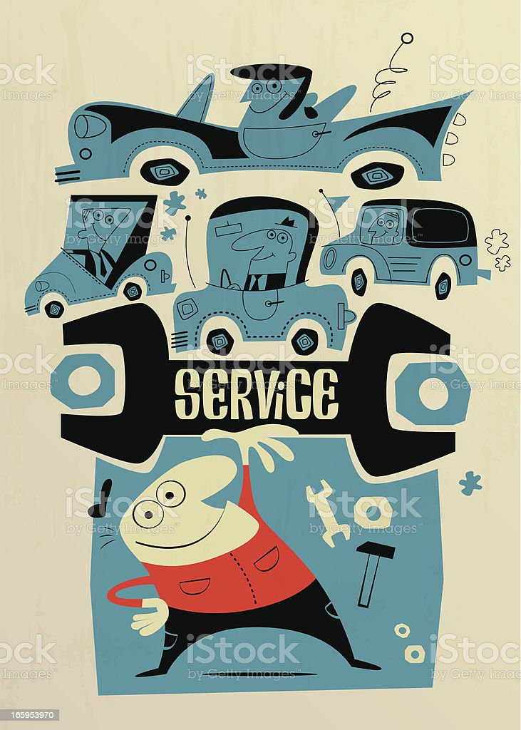 best car service vector art illustration