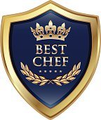Best chef gold award with five stars and a crown.