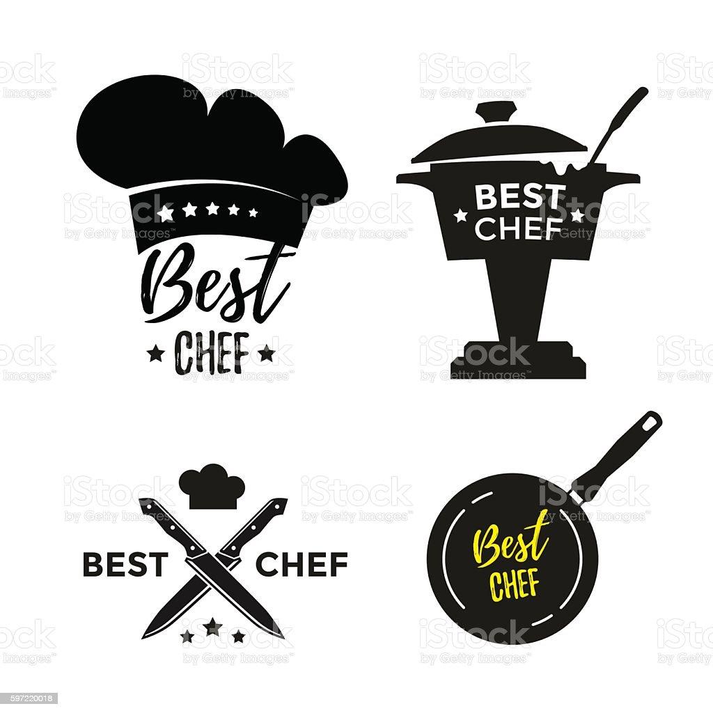 Best chef icons vector art illustration