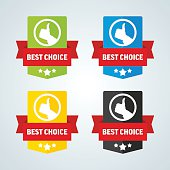 Best choice badge with red ribbon. Different colors. Vector illustration.