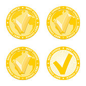 Best Choice gold medal, embossed tick, world map. Award product