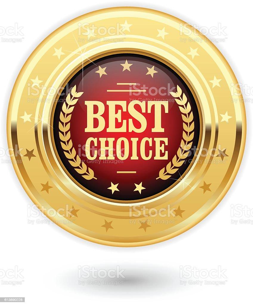Best choice - golden insignia (medal) vector art illustration