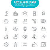 Check Mark, Approve, Quality, Service, Exam, Like, Certificate, USA, Editable Icon Set