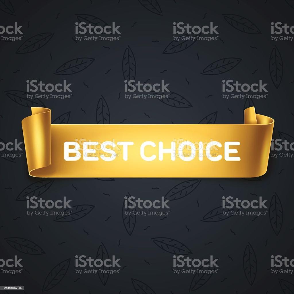 Best Choice inscription on gold detailed curved ribbon on leaves background. – Vektorgrafik