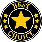 Vector illustration of round gold and black best choice label.