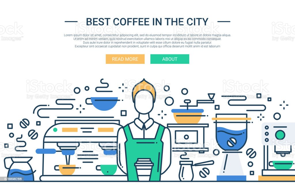 Best Coffee Shop In the City - website banner vector art illustration