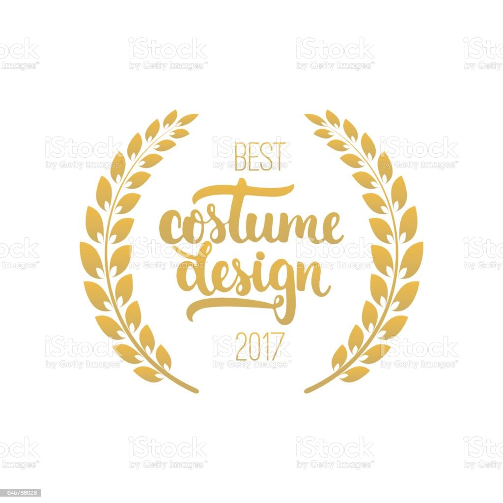 best costume design awards in golden color with laurel wreath and