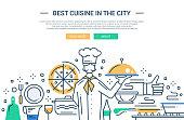 Illustration of vector modern line flat design website banner, header with professional cooker holding dishes