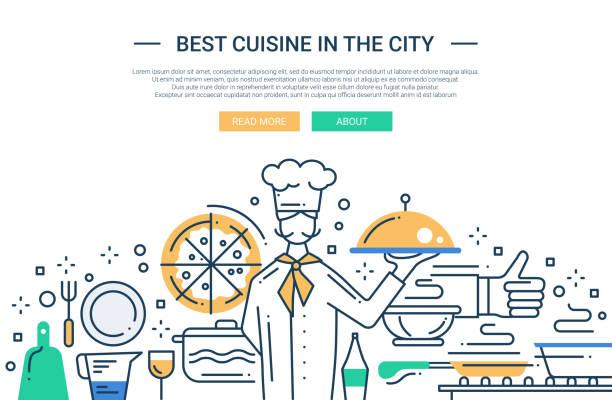 Best Cuisine In the City - line design website banner vector art illustration