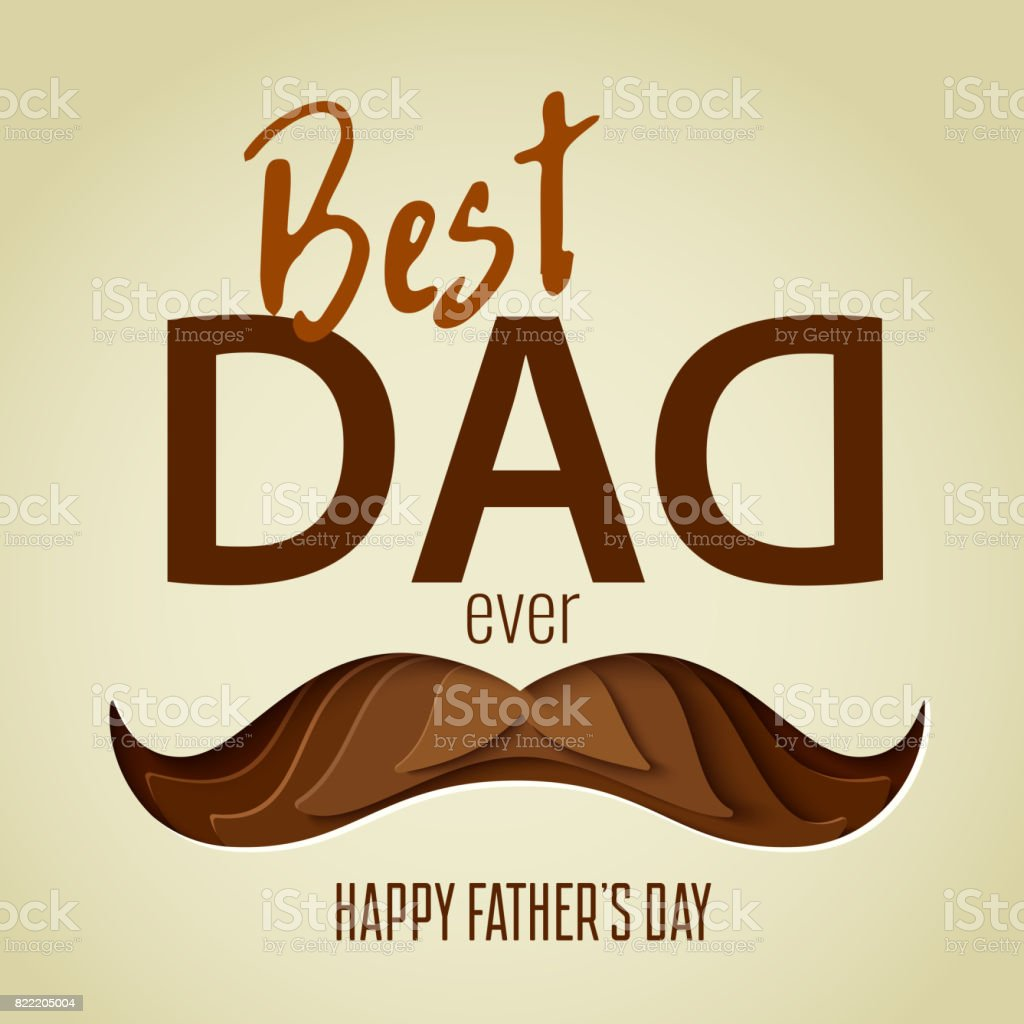Best dad ever 3d paper cut hipster mustache design vector art illustration