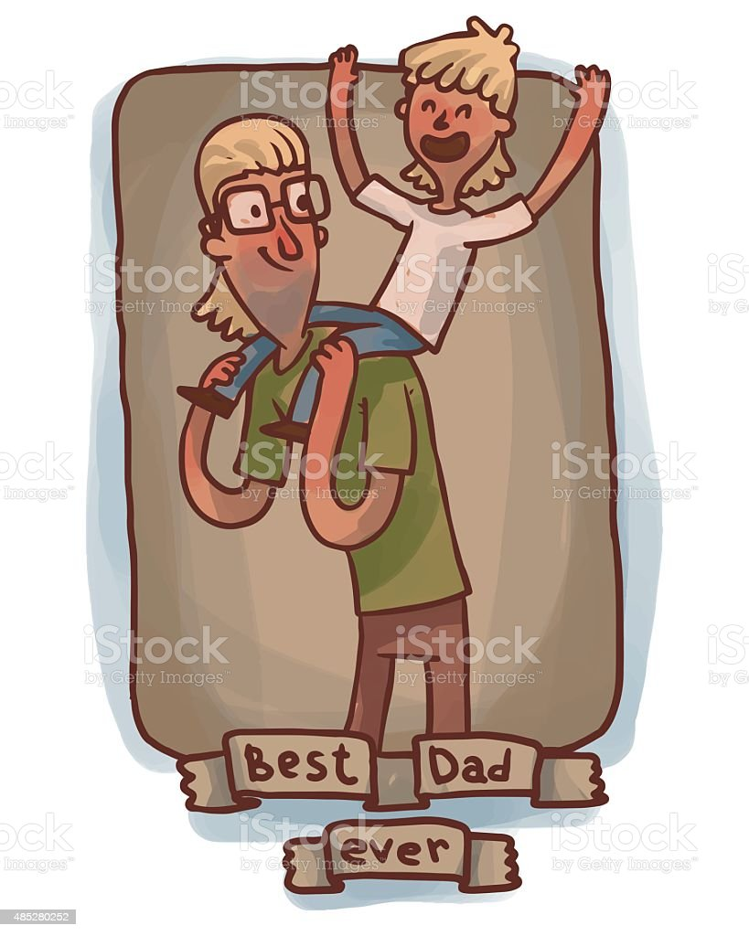 Best Dad ever, blonde hair frame vector art illustration