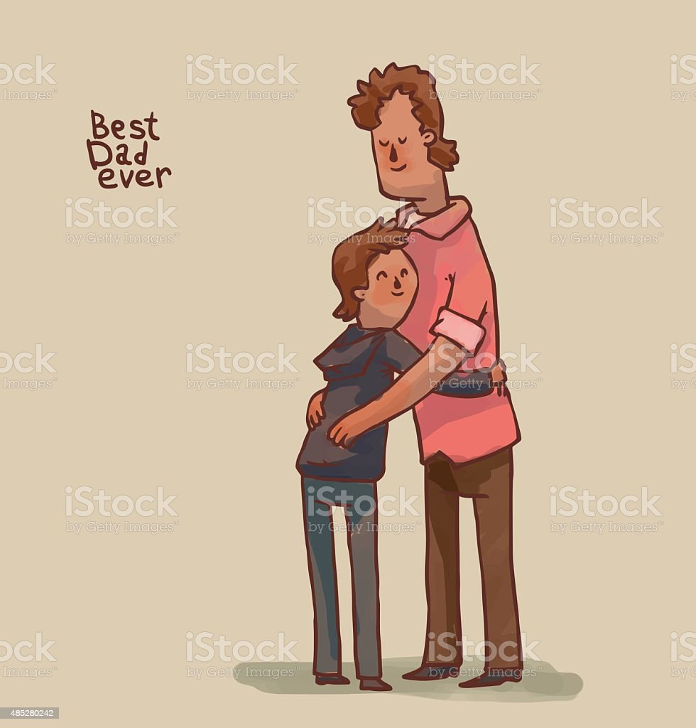 Best Dad ever, brown hair vector art illustration
