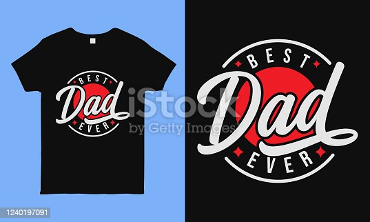 Best dad ever. Fathers day greeting. Modern typography circular design template