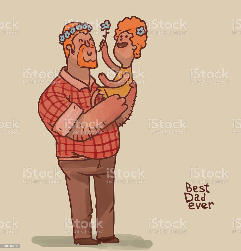 Best Dad ever, ginger hair vector art illustration