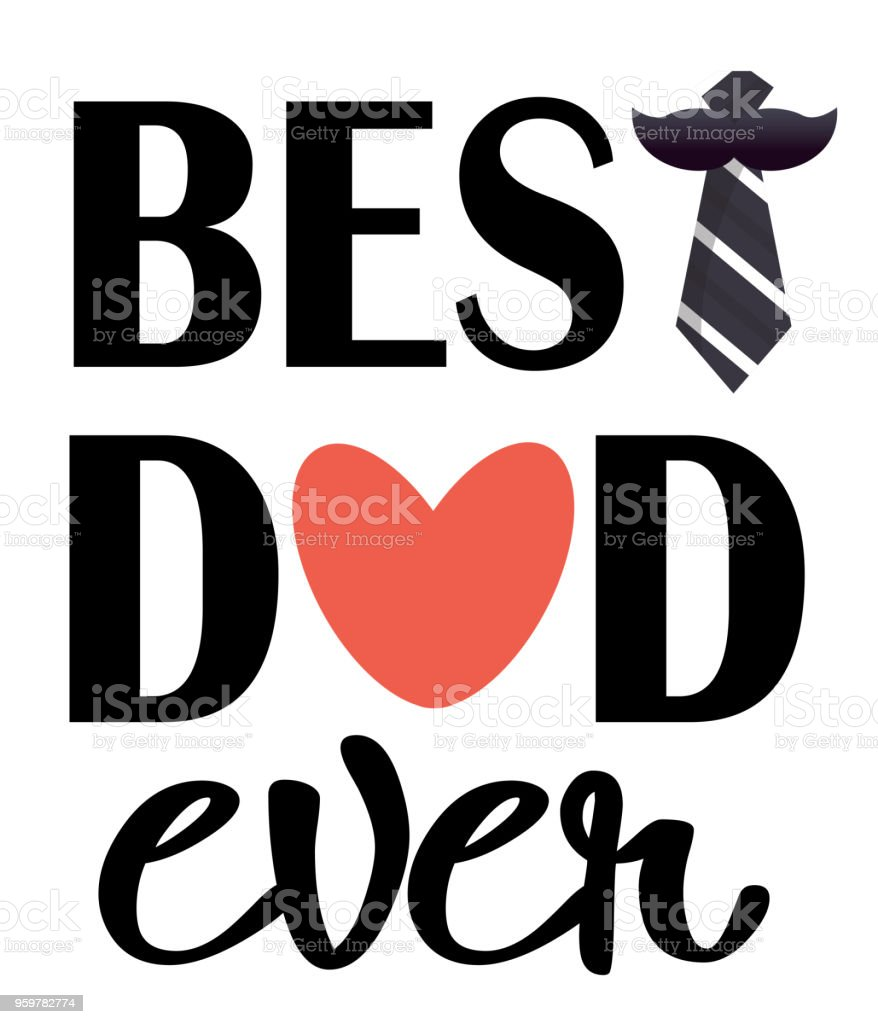 Best Dad Ever Pink Heart Necktie White Background Vector Image vector art illustration