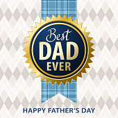 It's time to appreciate and celebrate the Father's Day with incentive stamp and textile pattern on the background