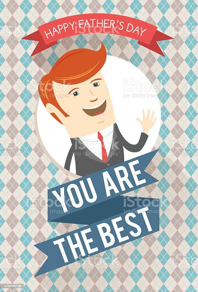 Best dad greeting card for father's day vector art illustration