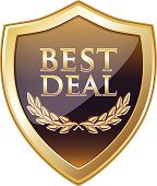 Best deal golden shield with a laurel wreath.