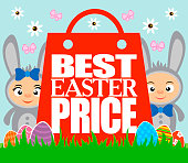 Best Easter price card with kids in costume rabbits.Vector illustration
