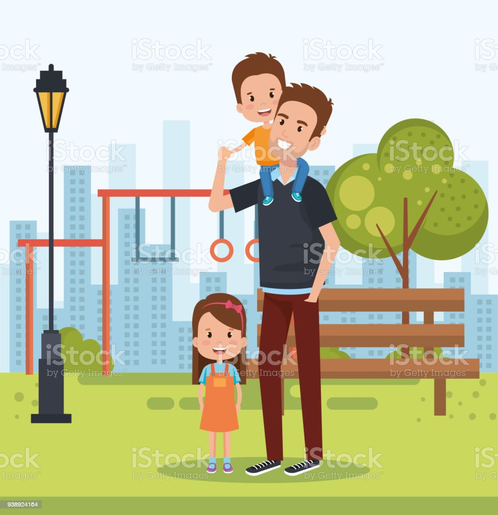 best father in the park scene vector art illustration