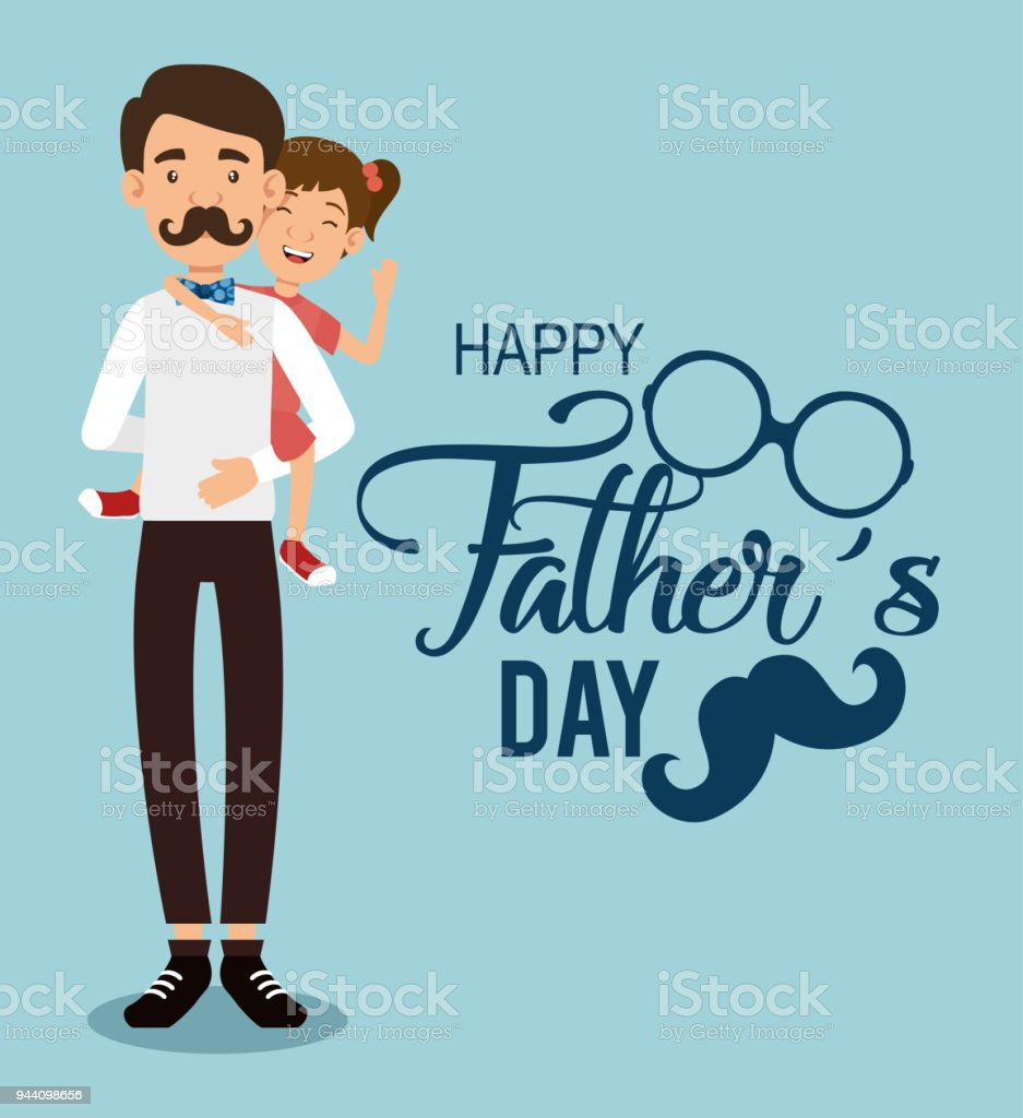 best father with daughter avatars vector art illustration