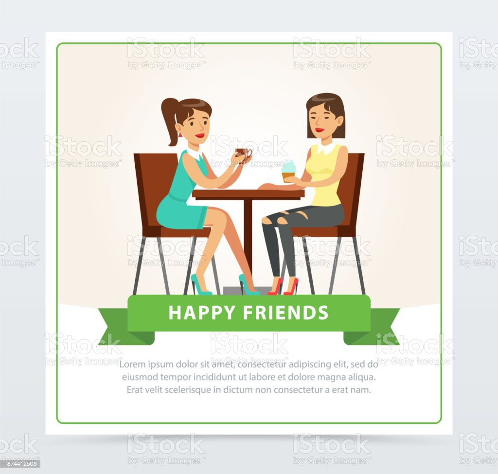 Best female friends drinking coffee in cafe, happy friends banner flat vector element for website or mobile app vector art illustration