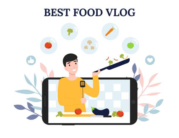 best food blog, concept mobile, man cook vector art illustration
