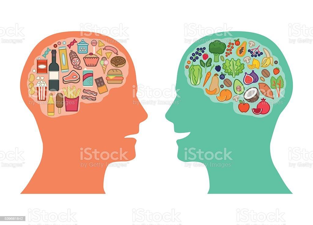 Mejor comida para el cerebro - ilustración de arte vectorial