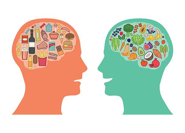beste speisen für gehirn - ungesunde ernährung stock-grafiken, -clipart, -cartoons und -symbole