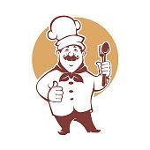 Best Food, happy cartoon chef, vector illustration for your logo, emblem, label , sign