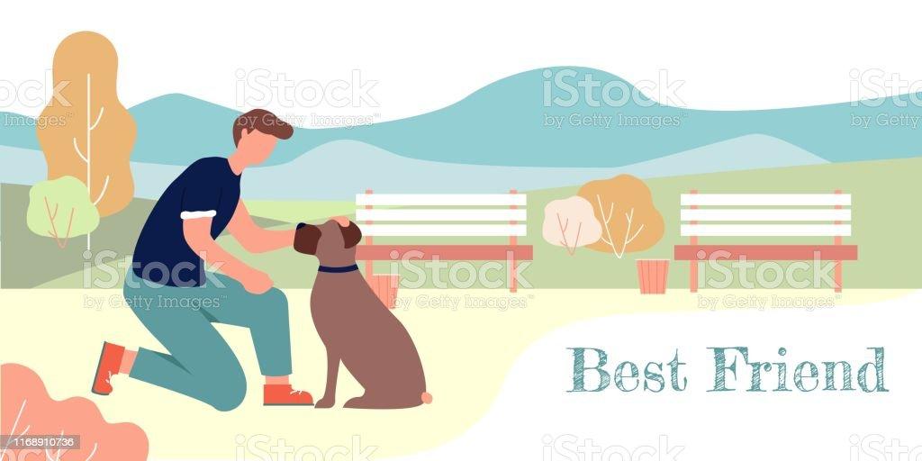 Best Friend Banner. Cartoon Man Pet Sitting Boxer Breed Dog Vector...