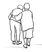 Two elderly lady friends walking away,  one is supporting her friend who has difficulty walking.  Gracefully aging together as friends vector illustration