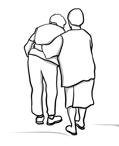Best Friend Forever Elderly Two elderly lady friends walking away,  one is supporting her friend who has difficulty walking.  Gracefully aging together as friends vector illustration affectionate stock illustrations