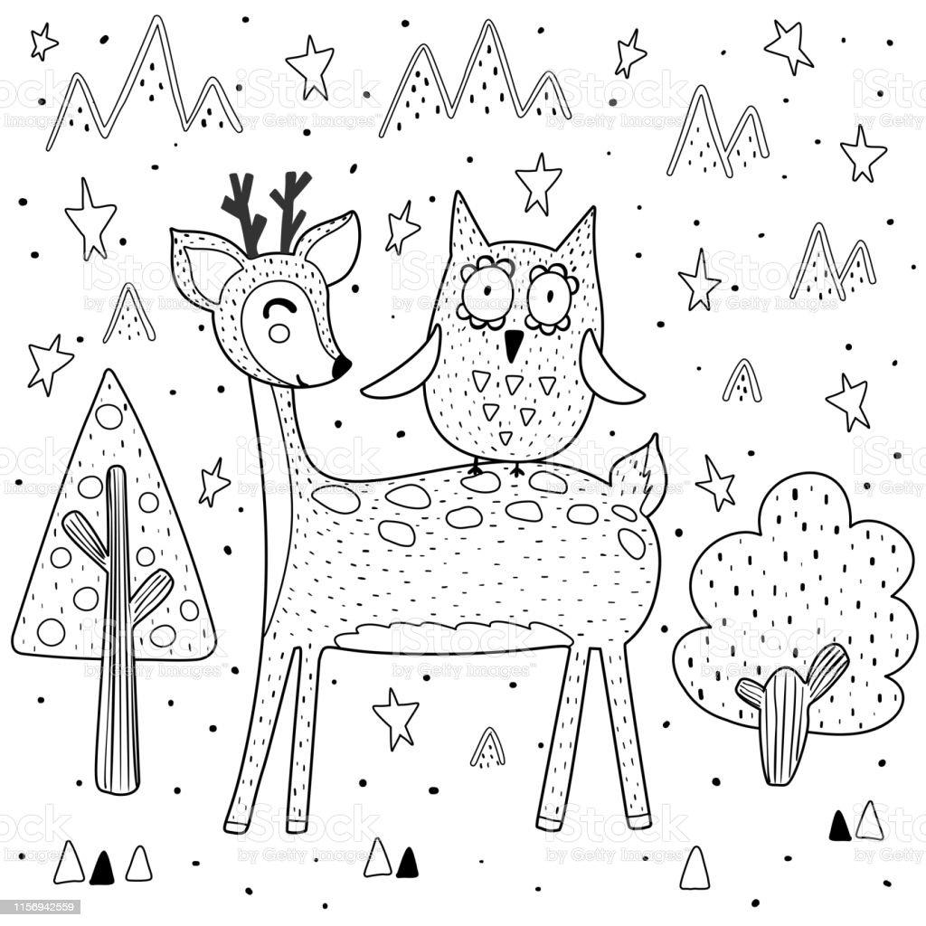 Page De Coloriage De Meilleurs Amis Avec Le Cerf Et Le Hibou