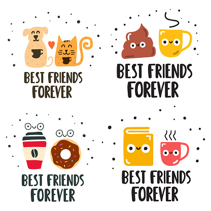 Best friends forever concept. Set of hand drawn vector lettering illustration for postcard, social media, t shirt, print, stickers, wear, posters design.
