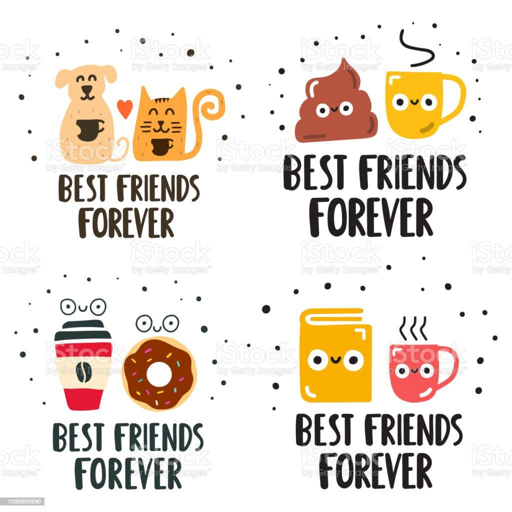 Best friends forever concept. Set of hand drawn vector lettering illustration for postcard, social media, t shirt, print, stickers, wear, posters design. vector art illustration