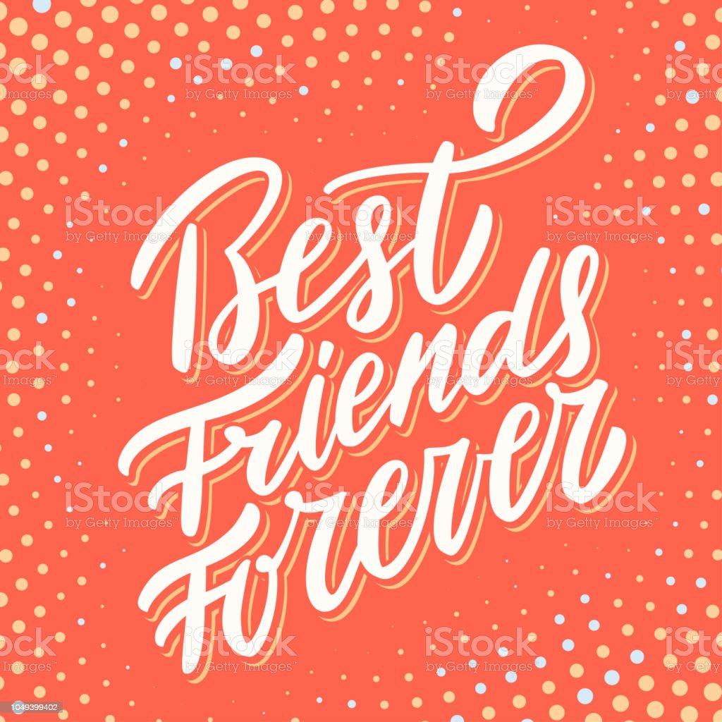 best friends forever hand lettering stock illustration
