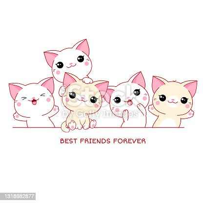 Best friends forever. Horizontal poster with cute cats