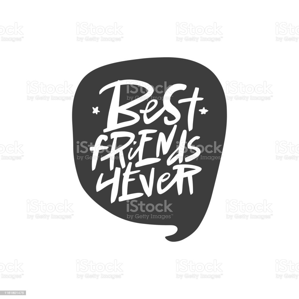 best friends forever lettering quote vector brush calligraphy