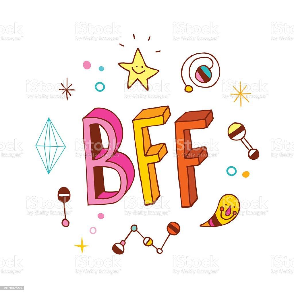 BFF - Best Friends Forever vector art illustration