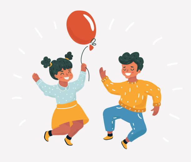 ilustrações, clipart, desenhos animados e ícones de melhores amigos. crianças pula. - dia das crianças