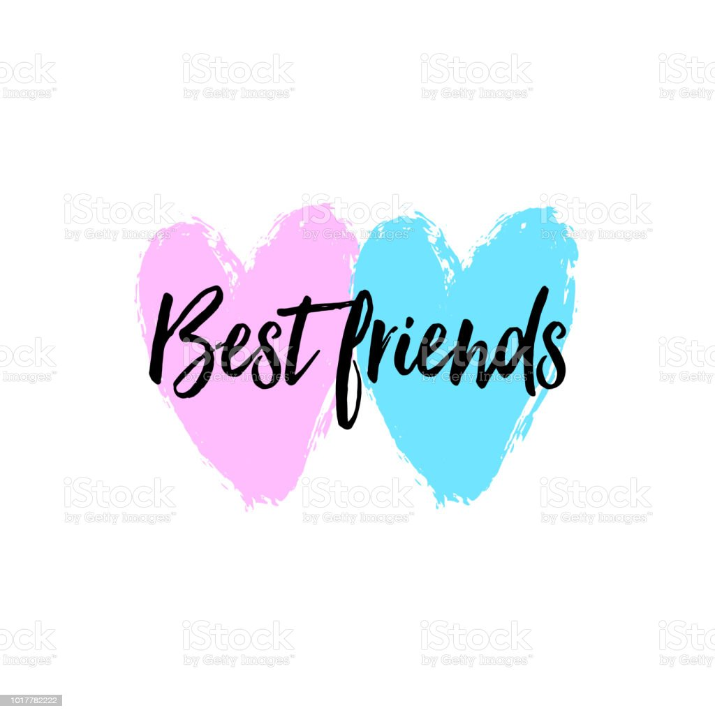 Best Friends Lettering On Hearts Vector Lettering