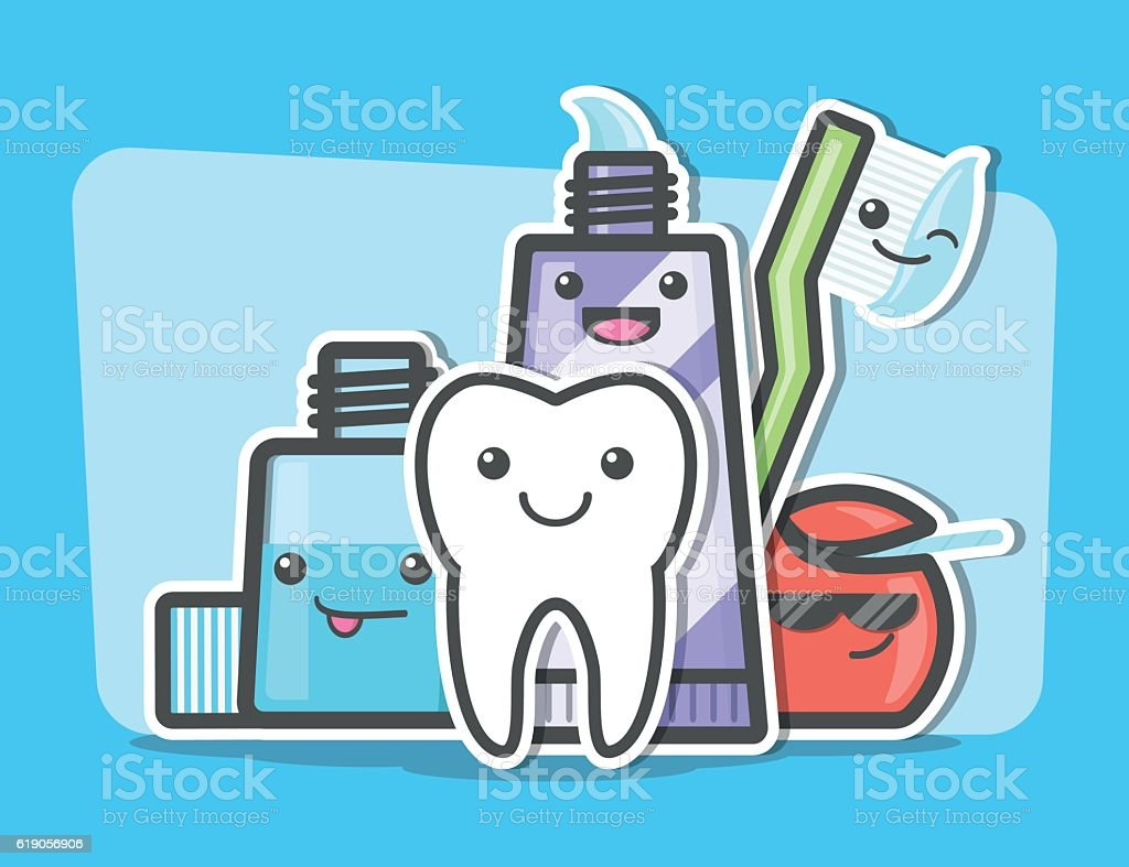 Best friends of healthy teeth. vector art illustration