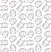 vector seamless pattern, cute bunny, cat and hearts on white background