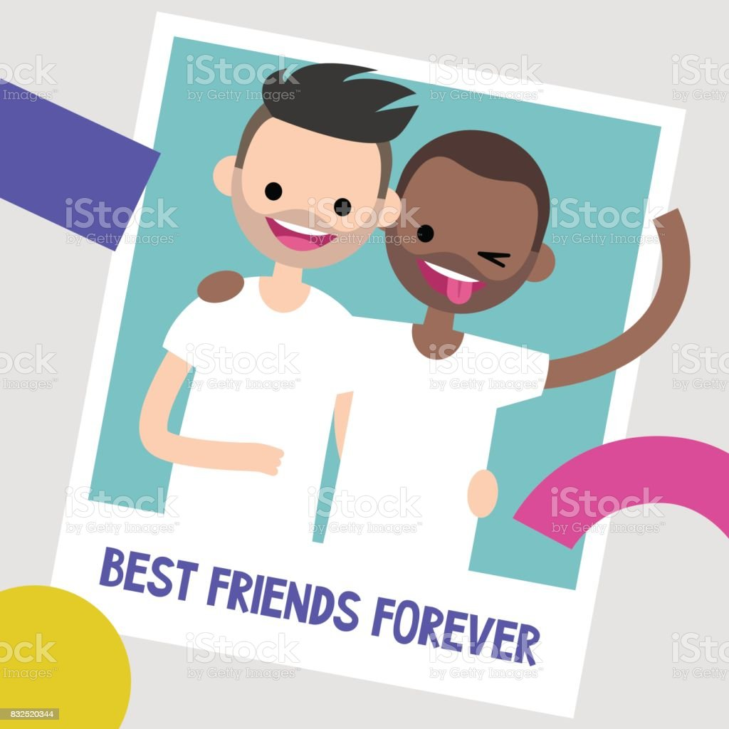 Best friends photo frame. Two young friends hugging each other. Flat editable vector illustration, clip art - illustrazione arte vettoriale