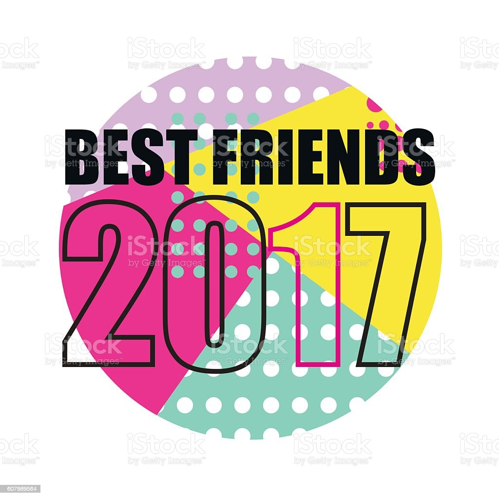 Best Friends Poster. Abstract Geometric Style vector art illustration