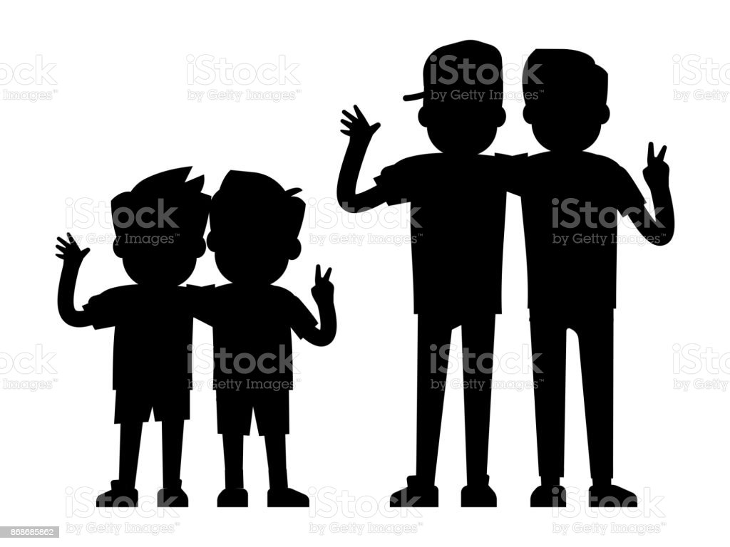 Best friends silhouettes isolated on white background - baby boys and teenager boys black silhouettes vector art illustration